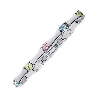 "MAGNETIX Armband - Gliederarmband 4238 ""Farbige Kristalle"" Magnetschmuck"