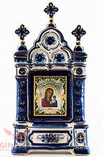 Russian Porcelain Gzhel Orthodox Shrine Kiot Icon Our Lady of Kazan Казанская БМ