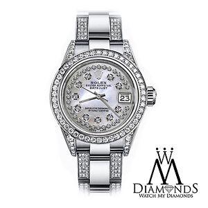 Ladies Rolex 26mm Datejust BIANCO MADREPERLA DIAMANTE Quadrante Bracciale Oyster Orologio personalizzato