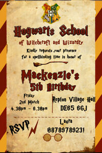 Image Is Loading Personalised Harry Potter Hogwarts Themed Birthday Party Invites