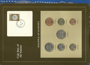 Coin-Sets-of-All-Nations-Guernsey-Brown-w-card-1979-1983-UNC-1-1981-Lily-13AP83