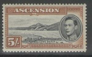 British Colonies & Territories Ascension Sg46a 1944 5/= Black & Yellow-brown P13 Mtd Mint Firm In Structure Ascension Island