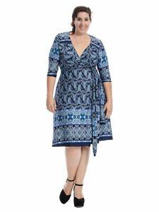 Kiyonna-Women-039-s-Dress-Size-3X-Beguiling-Border-Geometric-Print-True-Wrap-USA