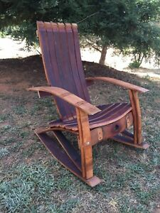 Wine Barrel Adirondack Rocking Chair Woodworking Plans Ebay
