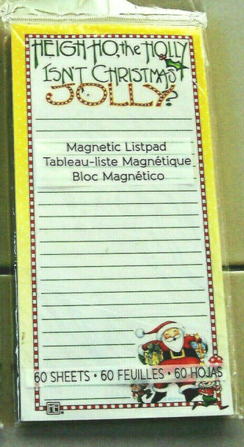 Mary Engelbreit Christmas Santa and Elves Magnetic List Pad  60 Sheets New