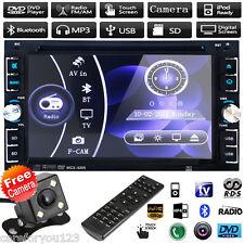 "Double 2Din 6.2"" Stereo Car DVD CD Player Bluetooth Radio iPod SD/USB TV+Camera"