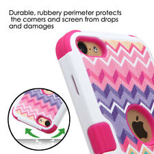 iPod Touch 5th / 6th Gen - HYBRID HARD&SOFT ARMOR CASE COVER PINK CHEVRON WAVES