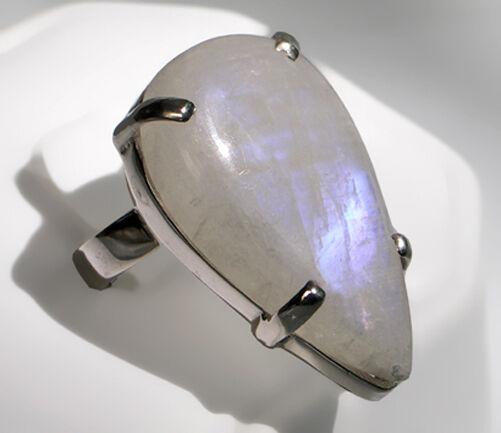 925 ECHT silver  Großer Tropfen Regenbogen-Mondstein Ring, Größenauswahl