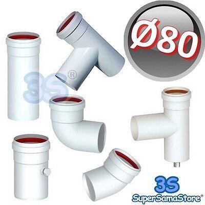Onesto 3s Tubo Curva Tee Raccordi Alluminio Bianco Estruso Ø 80 Mm Scarico Fumi Caldaia