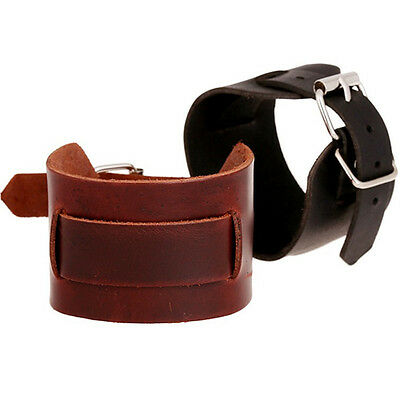 Punk Unisex Wide Fashion Genuine Leather Belt Claps Bracelet Cuff Wrist Band R