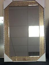 Moderno grandi oro Rettangolo Glitter SPECCHIO NUOVO BAGNO BOUDOIR Ragazze Hall 60 cm