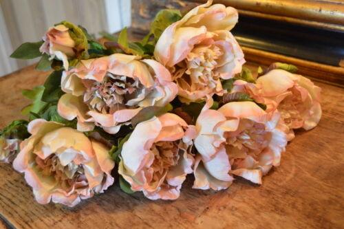 Vintage Peach Luxury Artificial Flower Antique Peach Faux Silk Peony