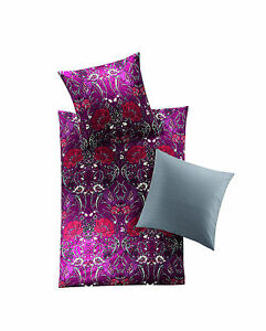 irisette wende mako satin bettw sche 4 tlg rv blumen rot grau bunt 135x200 ebay. Black Bedroom Furniture Sets. Home Design Ideas