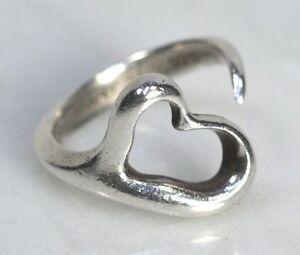 0adbc0724 Vintage TIFFANY & CO. Elsa Peretti Sterling Silver Open Heart Ring ...