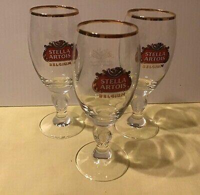 Authentic STELLA ARTOIS Gold Rimmed Belgian Beer Glass Chalice Belgium 15 cl