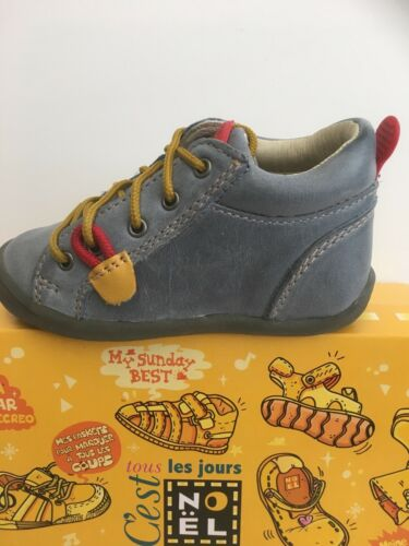 Noel Mini Kids Boys Boots In Plomb Blue with Mustard Laces only £29.90