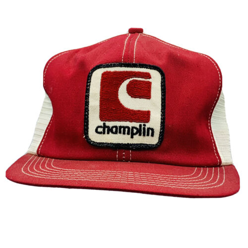 🧢 Vintage Red White CHAMPLIN Mesh Hat Cap Trucker