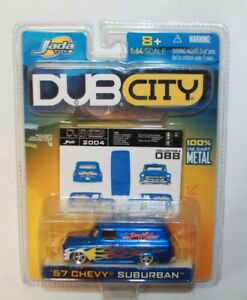 Jada Dub City Metallic Red with Flames 1957 Chevy Suburban 1:64 Scale Die Cast Car