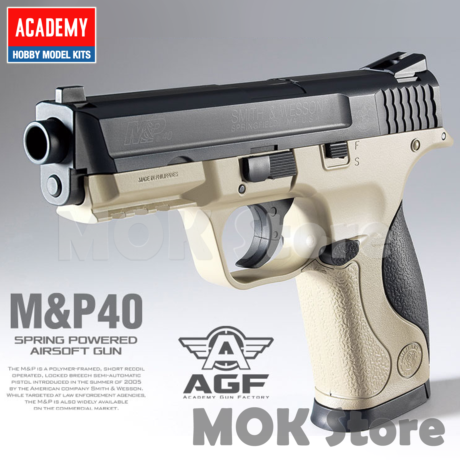 Details about ACADEMY M&P 40 TAN 17225T Airsoft BB Toy Gun Replica Full  Size Non Metal Pistol