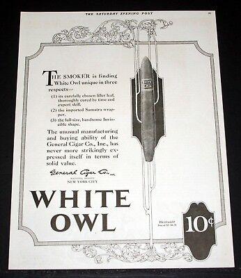 1921 OLD MAGAZINE PRINT AD, GENERAL CIGAR, WHITE OWL CIGARS, SUMATRA  WRAPPERS! | eBay