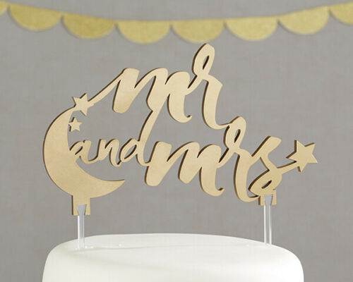 Mrs Moon and Stars Gold Mr Cake Topper Wedding Engagement Party MW35471
