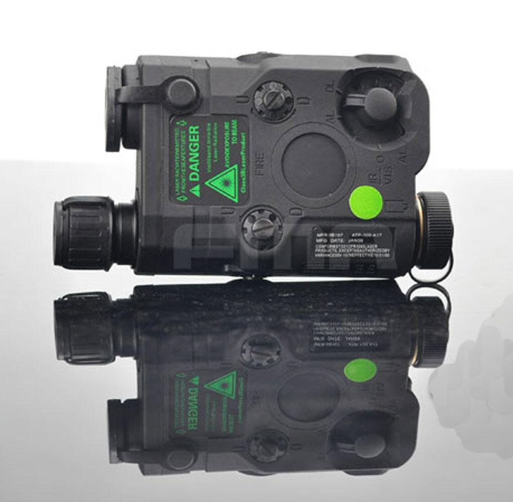 Negro PEQ15 versión de actualización LED blancooo Luz + Láser verde con lentes de ir