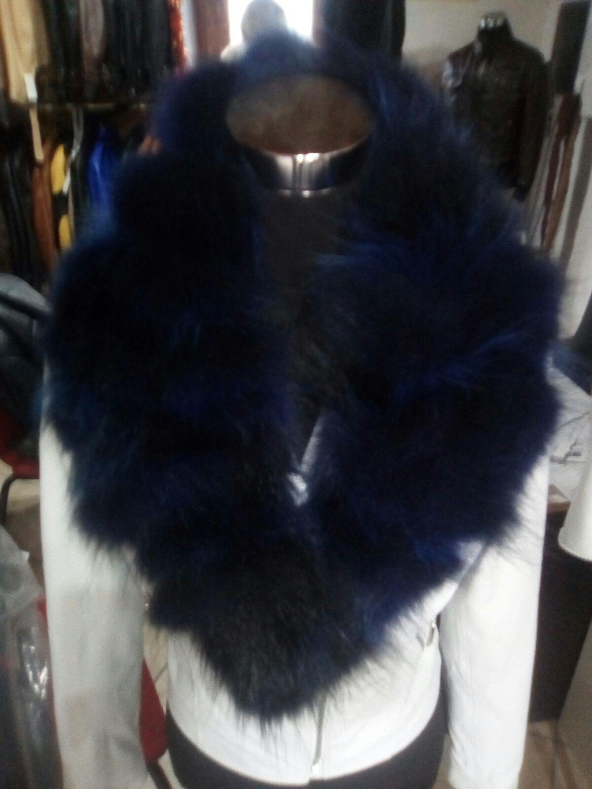 Collo  in di  pelliccia azul sfumato negro per giacca di pelle  perfecto