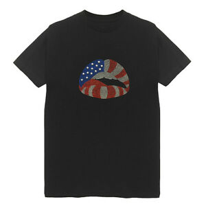 USA-Flag-Lip-Women-039-s-Crew-Neck-T-Shirts-Plus-Size-Handmade-Bling-Cotton-Patriot
