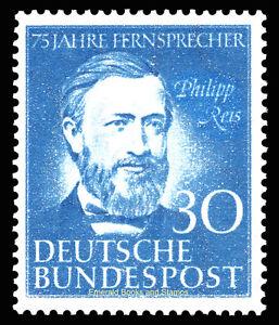 EBS-Germany-1952-Philipp-Reis-telephone-inventor-Michel-161-MNH-cv-89-00