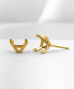 14K-Yellow-Gold-Stud-Earring-Finding-Mounting-Setting-Princess-Martini-ScrewBack
