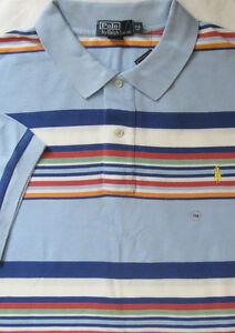 Nuevo Polo Ralph Lauren Blue Multi Color a Rayas Camisa Polo de ... cca3f5f27a7b1