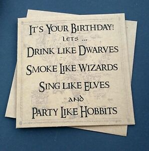 Handmade Funny LOTR Lord Of The Rings Birthday Card Party Like