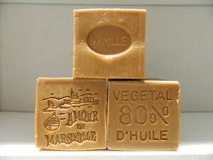LOT-3-SAVON-DE-MARSEILLE-PARFUME-VANILLE-150g-LE-SERAIL-80-D-039-HUILES-VEGETALES