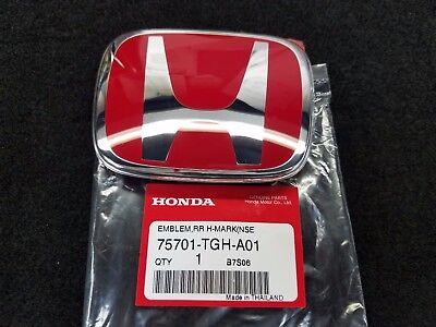 Genuine OEM Honda 75701-TGH-A01 Rear Red Chrome Emblem Badge 2016-19 Civic 5DR