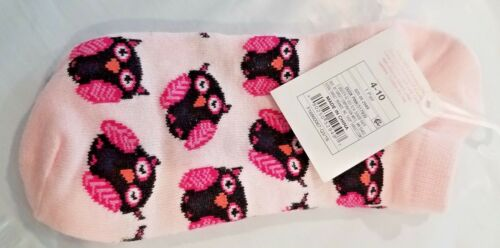 Xhilaration Low Cut Stretch Socks Owl Dust Pink Shoe Sz 4 to10 Womens NWT
