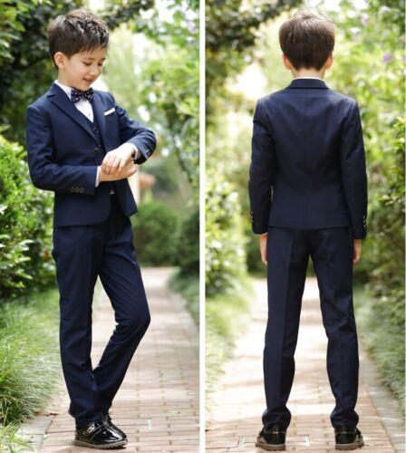 Kids 5 Piece Grey Formal Suit Confirmation Wedding Child Boys 2-18yrs