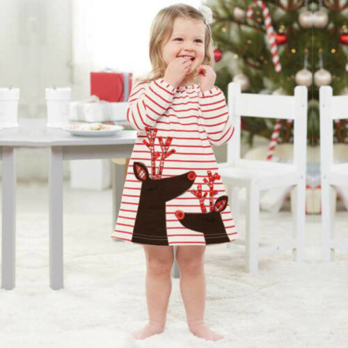 Toddler Kids Baby Girl Santa Princess Dress Long Sleeve Casual Xmas Party Dress
