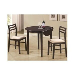 Details about Small Dinette Set 3 Pcs Space Saving Breakfast Table Chairs  Wood Bistro Dining