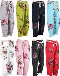 NEW-LADIES-ITALIAN-FLORAL-PRINT-COMFY-CASUAL-POCKET-LINEN-TROUSERS-PANTS