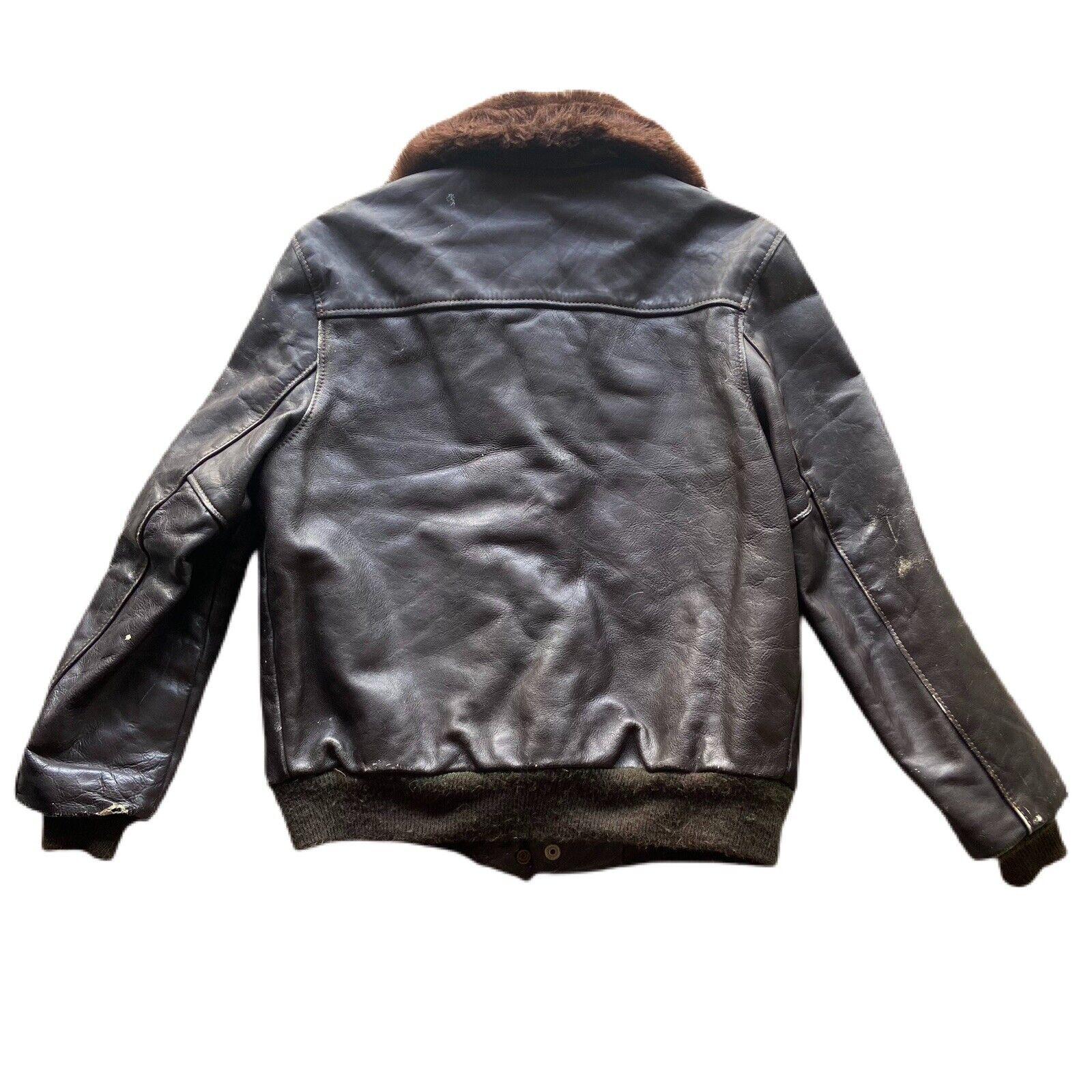 Vintage 60's G-1 Leather Bomber Flight Fur Jacket - image 5