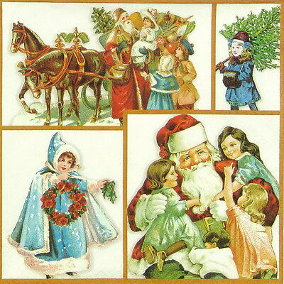4x Paper Napkins for Decoupage Decopatch Christmas Old Story