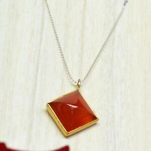 925-Sterling-Silver-Gold-Carnelian-Gemstone-Pendant-3-34-gms-Jewelry
