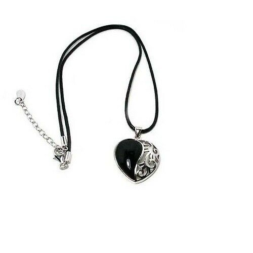 Brand New 925 Sterling Silver with Black Onyx Heart on Wax Cord