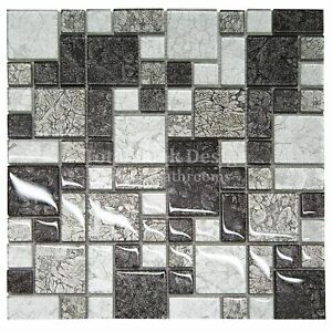 Glitter Squares Silver Mirror Mosaic Tiles Sheet for Walls Floors Bathrooms Kitchen 1 Sqm 11 Sheets of 30cm x 30cm