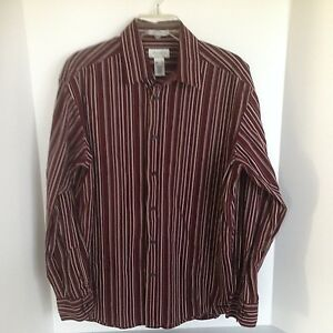 Concepts-Mens-Large-Long-Sleeve-Dress-Shirt-Maroon-with-Stripes