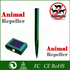 Solar Cat Repeller Garden Animal Chaser Scarer Ultra Sonic Deterrent Repellent