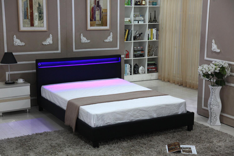 Queen Size Bed Bedroom Platform Wooden Headboard Frame Led Lights Black Modern For Sale Online Ebay