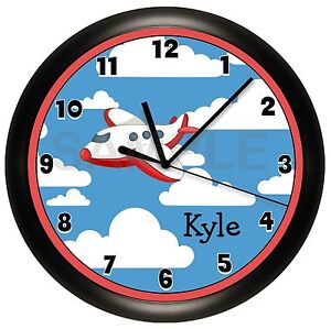 Airplane Nursery Wall Clock Boys Bedroom Fly Plane Red