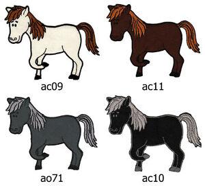 Set-072-Pony-Pferd-Reiten-Aufnaeher-Buegelbild-Applikation-Patch-Flicken-Kinder