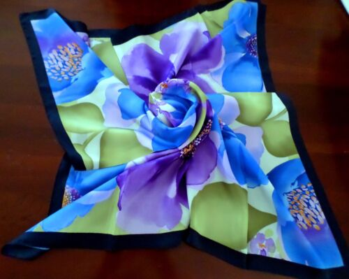 "New Accessory Purple Blue Green Gold Cream Floral 100% Silk 34"" Square Scarf"